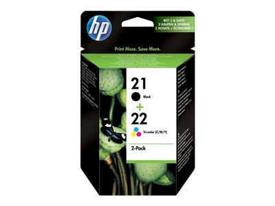HP 21 Black/22 Tri-colour 2-pack Original Ink Cartridges