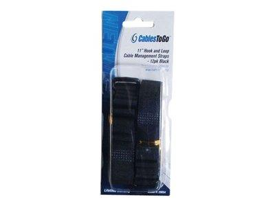 C2G 280mm Hook-and-Loop Cable Management Straps - Black - 12pk