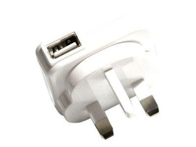 Veho USB Mains Charger Adaptor - 3 PIN - WHITE