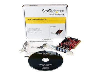 StarTech.com 4 Port PCI SuperSpeed USB 3.0 Adapter Card with SATA / SP4 Power