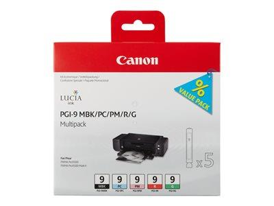 Canon PGI-9 Multi-Pack - Ink - 1 x red, green, matte black, photo cyan, photo magenta