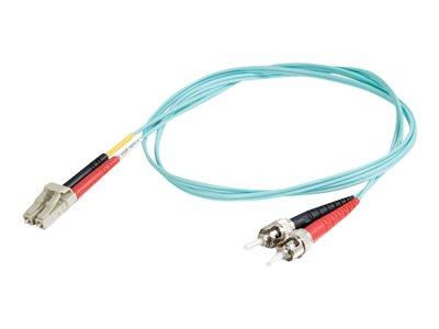 C2G 3m LC-ST 10Gb 50/125 OM3 Duplex Multimode PVC Fibre Optic Cable (LSZH) - Aqua