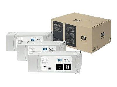 HP 81 3-pack 680-ml Black Dye Cartridges