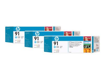 HP 91 3-pack 775-ml Light Cyan Pigment Ink Cartridges