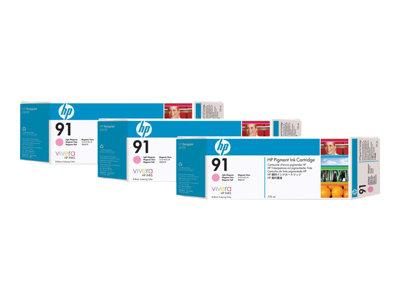 HP 91 3-pack 775-ml Light Magenta Pigment Ink Cartridges