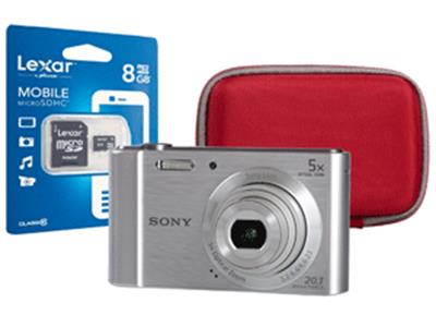 Sony Cyber-shot DSC-W800 Silver Camera Kit inc 8GB microSD and Hard Case