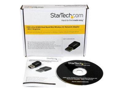 StarTech.com USB 2.0 AC600 Mini Dual Band Wireless-AC Network Adapter - 1T1R 802.11ac WiFi Adapter