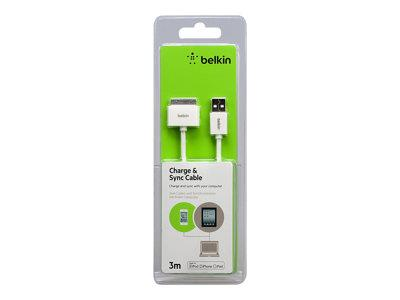 Belkin 30pin to USB 1A/2.1A Charge/Sync Cable 3m - White