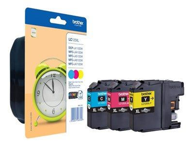 Brother LC125XL Rainbow Pack - High Capacity - Yellow, Cyan, Magenta Original Ink Cartridges