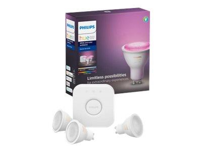 Philips Hue White and Colour Ambiance GU10 Kit - Bridge and 3 Bulbs
